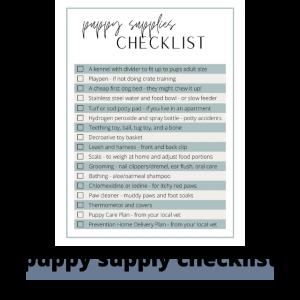 puppy supply checklist